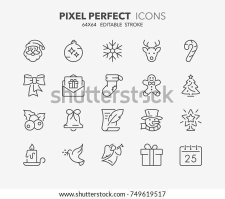 Thin line icons set of christmas and celebrations. Outline symbol collection. Editable vector stroke. 64x64 Pixel Perfect.