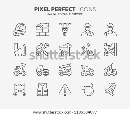 Thin line icons set of construction and architecture. Outline symbol collection. Editable vector stroke. 64x64 Pixel Perfect.