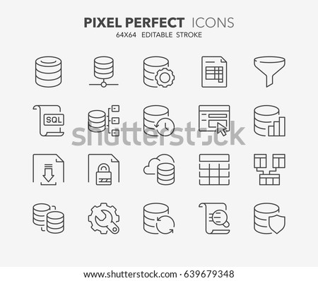 Thin line icons set of database and data technology concepts. Outline symbol collection. Editable vector stroke. 64x64 Pixel Perfect.