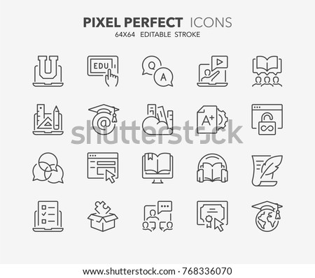 thin line icons set of e