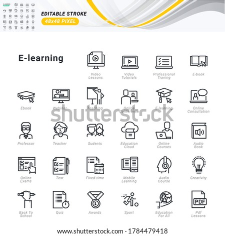 Thin line icons set of e-learning. Pixel perfect icons, editable stroke.