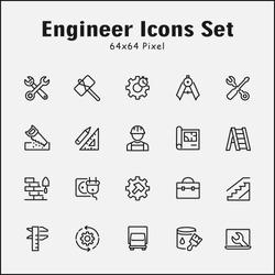 Thin line icons set of Engineer. Editable vector stroke 64x64 Pixel.