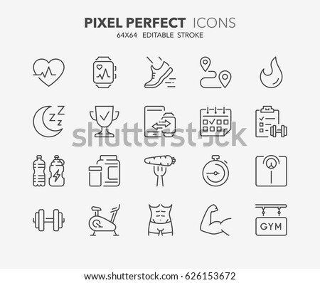 thin line icons set of fitness