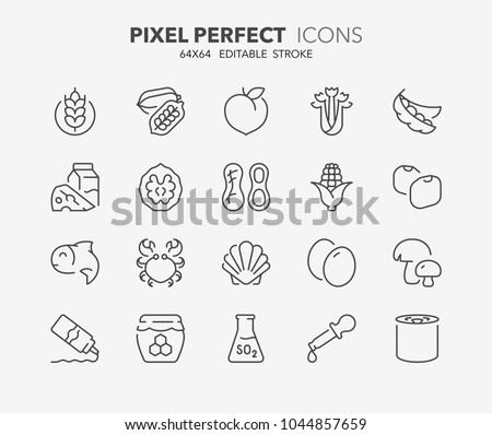 Thin line icons set of food allergens. 14 allergies outlined by the EU European Food Safety Authority which encompass the big 8 FDA Major Allergens. Outline symbol collection. Editable vector stroke Foto d'archivio ©
