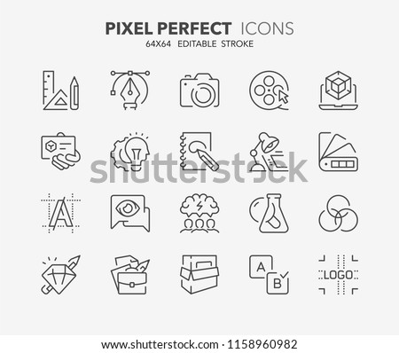 Thin line icons set of graphic design and creative process. Outline symbol collection. Editable vector stroke. 64x64 Pixel Perfect.