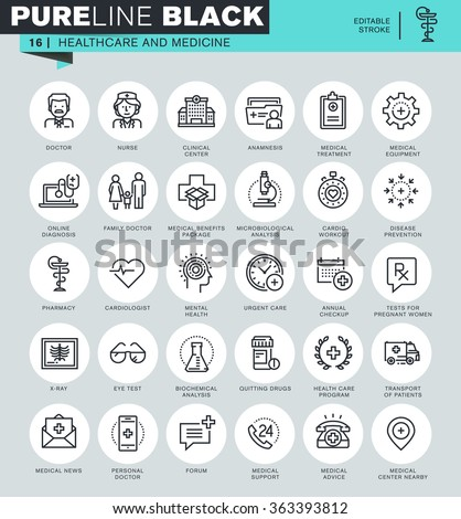 Thin line icons set of healthcare and medicine, hospital services, laboratory analyzes. Icons for website and mobile website and apps with editable stroke.