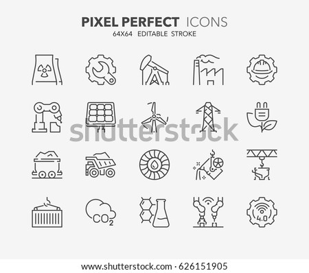 Thin line icons set of heavy and power industry. Outline symbol collection. Editable vector stroke. 64x64 Pixel Perfect.