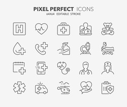 Thin line icons set of hospital and medical care. Outline symbol collection. Editable vector stroke. 64x64 Pixel Perfect.
