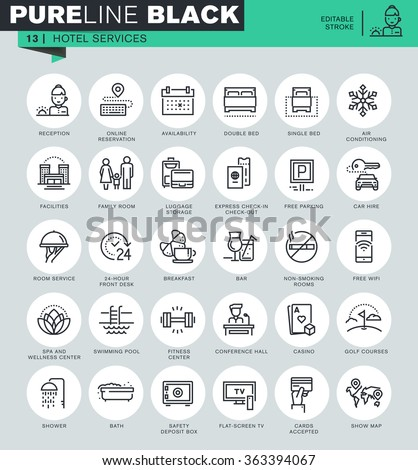 thin line icons set of hotel