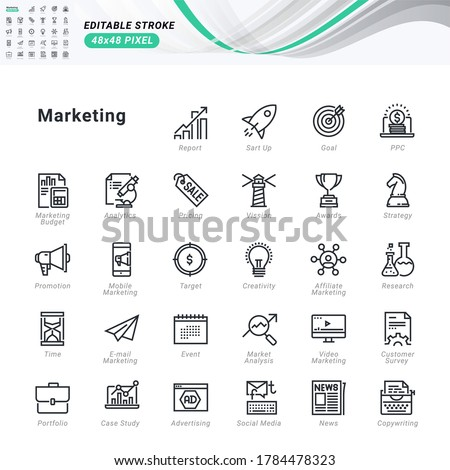 Thin line icons set of marketing. Pixel perfect icons, editable stroke.