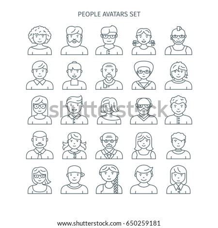 Thin line icons set of people avatars. Different age man and woman characters. Use for profile page, social network, social media.