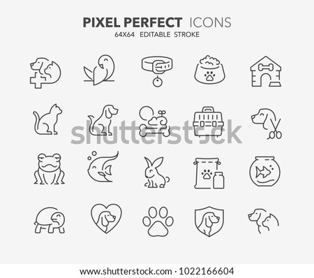 thin line icons set of pets and