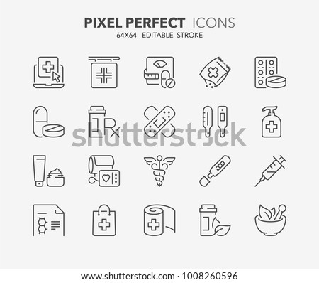 Thin line icons set of pharmacy products and services. Outline symbol collection. Editable vector stroke. 64x64 Pixel Perfect.