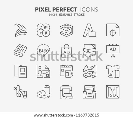 Thin line icons set of printing industry. Outline symbol collection. Editable vector stroke. 64x64 Pixel Perfect.