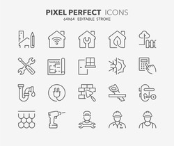 Thin line icons set of renovation, improvement and repair. Outline symbol collection. Editable vector stroke. 64x64 Pixel Perfect.