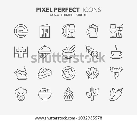 Thin line icons set of restaurant and menu options. Outline symbol collection. Editable vector stroke. 64x64 Pixel Perfect.