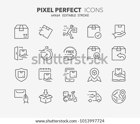 Thin line icons set of shipping and delivery. Outline symbol collection. Editable vector stroke. 64x64 Pixel Perfect.