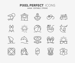 Thin line icons set of summer and beach. Outline symbol collection. Editable vector stroke. 64x64 Pixel Perfect.
