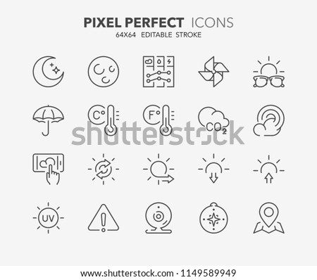 Thin line icons set of weather. Outline symbol collection. Editable vector stroke. 64x64 Pixel Perfect.