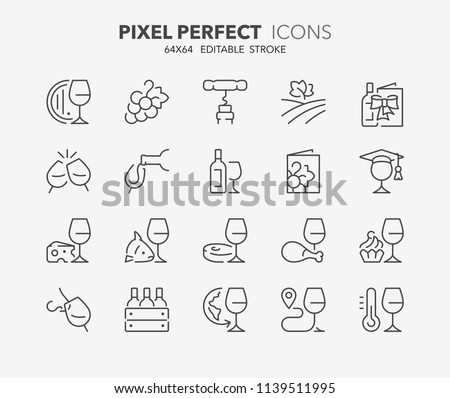 Thin line icons set of wine and wine pairing. Outline symbol collection. Editable vector stroke. 64x64 Pixel Perfect.