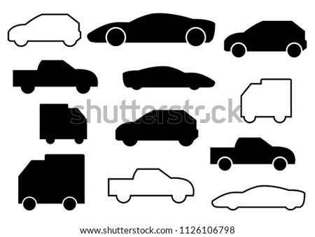 thin line icons,solid icons for car,pickup truck,transportation,vector illustrations