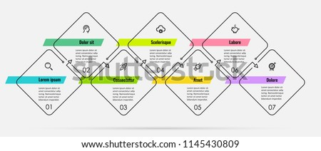 Thin line Infographic design template with 7 options or steps.  Can be used for process diagram, presentations, workflow layout, banner, flow chart, info graph.