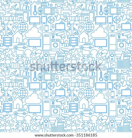 Thin Line Internet of Things White Seamless Pattern. Vector Web Design Seamless Background in Trendy Modern Line Style. Technology Smart Home Outline Art.