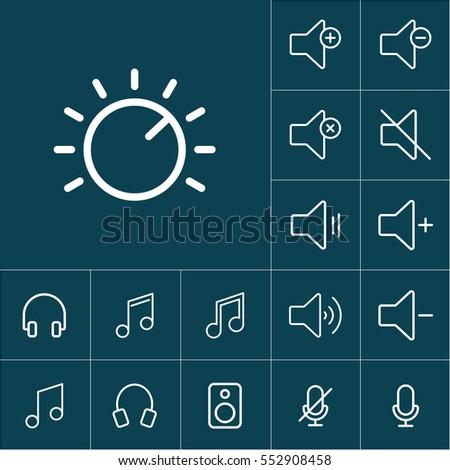 thin line knob icon on blue background, audio icons set