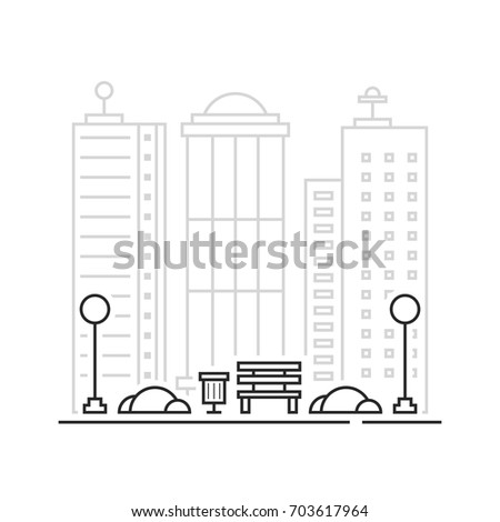 thin line landscape like city park. contour style trend modern stroke graphic art design isolated on white background. concept of town district with place of family rest or frontage of area for relax