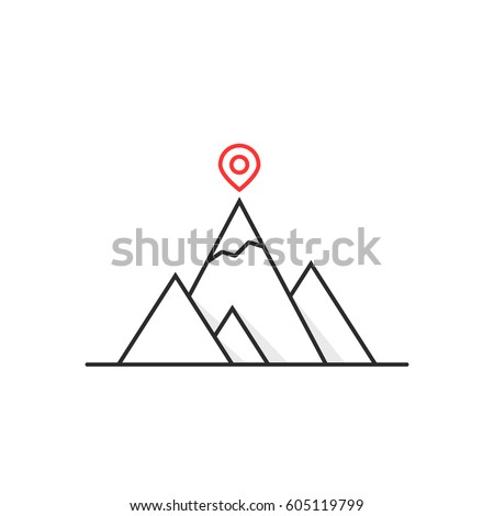 thin line leadership like summit logo. career advisor, motivation and triumph concept, possibility, flat linear geoloc sign, strength, gps marker, result trendy logotype art design on white background