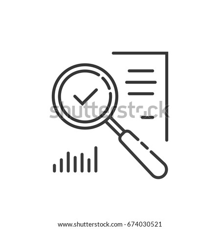 thin line magnifying glass like audit assess. concept of identification vulnerable or advisor job in business. linear flat style trend modern logotype graphic art design isolated on white background