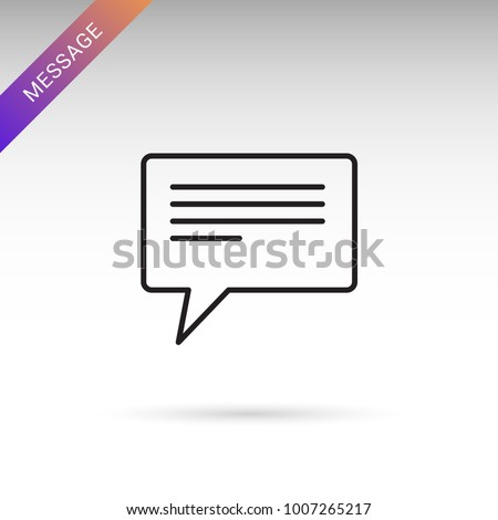 Thin line message, conversation, chat bubble icon on white background. Modern flat vector isolated icon.