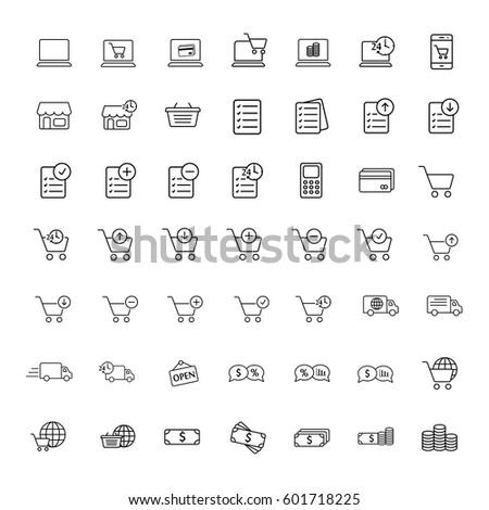thin line online shopping icon set on white background, shopping icons set