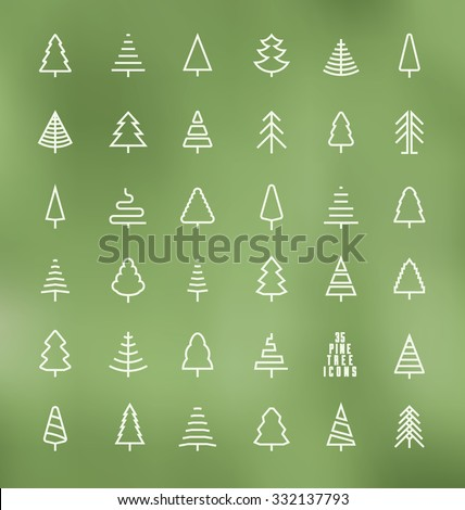 thin line pine tree icon set