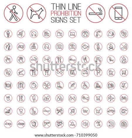 thin line prohibition signs set