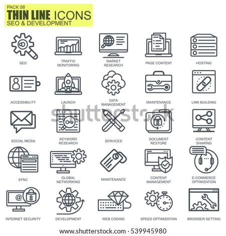 Thin line seo and development icons set for website and mobile site and apps. Pixel Perfect. Editable Stroke. Simple linear pictogram pack. Vector illustration.