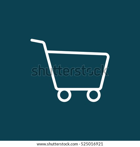 thin line shopping card, trolley icon on blue background