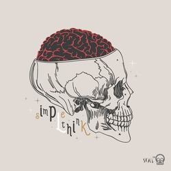 Thin line skull label. Retro vector design graphic element, badge, emblem, logo, insignia, sign, identity, logotype, poster. Stroke hipster illustration with typographic for t-shirt prints.