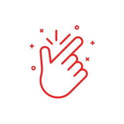 thin line snap icon. concept of popular funny symbol to make flicking fingers, meaning everything is easy, fine, eureka, no problem. graphic design arm of human. red simple sign on white background