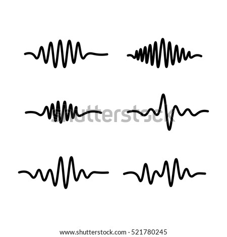 thin line sound waves icon on white background