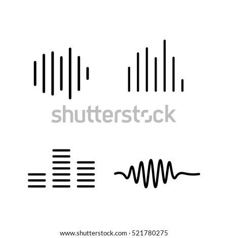 thin line sound waves icon on