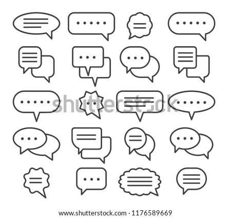 Thin line speech bubble icons. Vector line plain speak bubbles, chat conversation or text comment signs