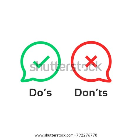 thin line speech bubble like dos and donts. concept of checklist element and reject or accept symbol for evaluation quiz. outline simple trend logotype graphic design illustration isolated on white