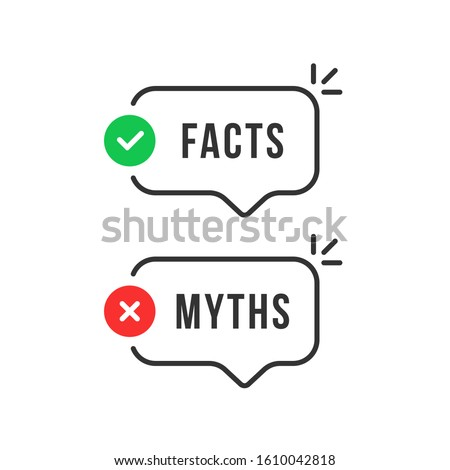 thin line speech bubbles with facts and myths. flat stroke style trend modern logotype graphic art design isolated on white background. concept of thorough fact-checking or easy compare evidence Photo stock ©