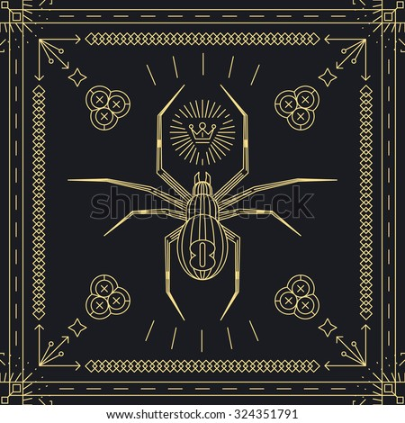 Thin line spider hipster label.  Insect animal, vintage and retro, golden frame. Vector illustration