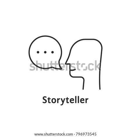 thin line storyteller black icon. concept of story teller stroke badge or education instructor. flat contour style simple trend modern creative logotype graphic art design isolated on white background