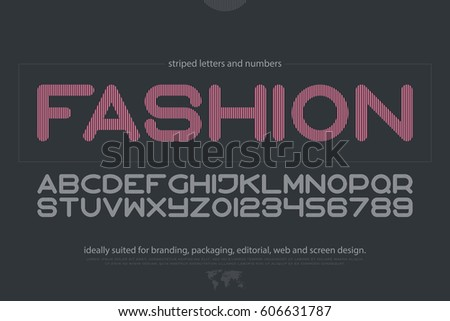 thin line style alphabet letters and numbers. vector, fashion font type design. modern, striped lettering symbol. abstract, decorative typesetting. ornamental typeface template