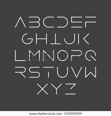 Thin line style, linear uppercase modern font, typeface, minimalist style. Latin alphabet letters. Vector design element.