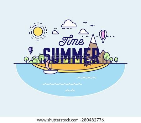 thin line style vector summer