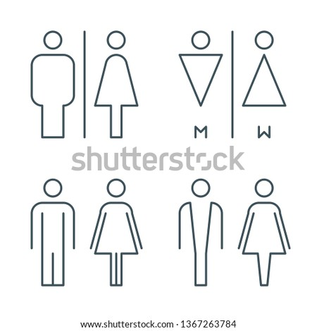 thin line toilet door signs. outline bathroom icons. line wc pictogram. linear male and female symbol set. editable stroke. isolated on white background. vector illustration